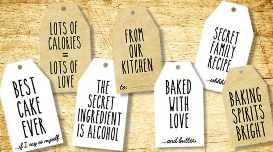 funny free printable baking gift tags