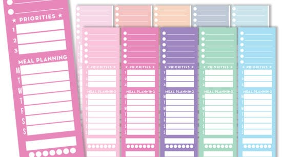 free printable sidebar planner stickers
