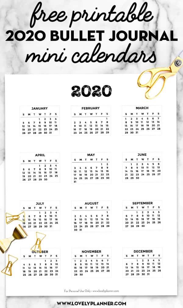 Free Printable 2020 Bullet Journal Mini Calendars