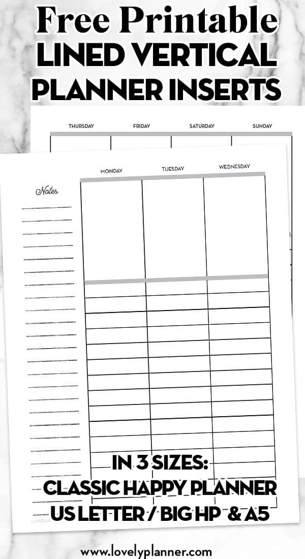 free printable lined vertical planner inserts