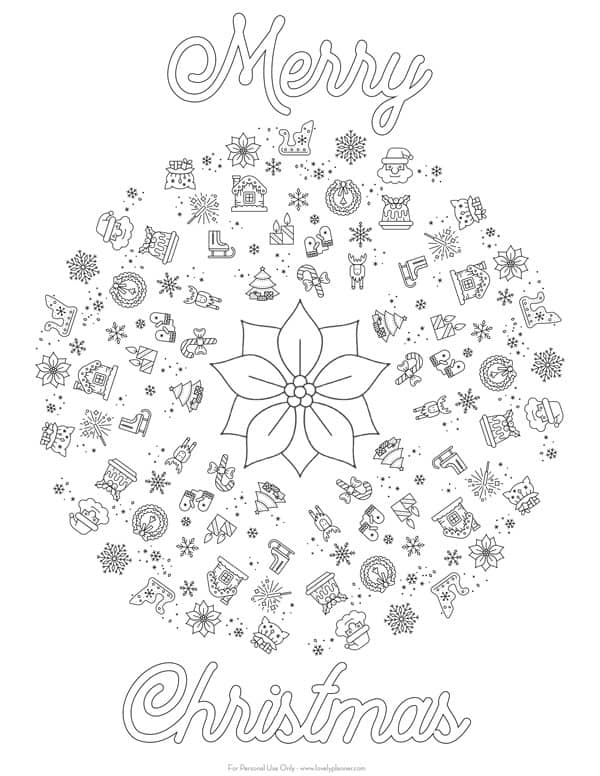 Free Printable Christmas Mandala Coloring Page