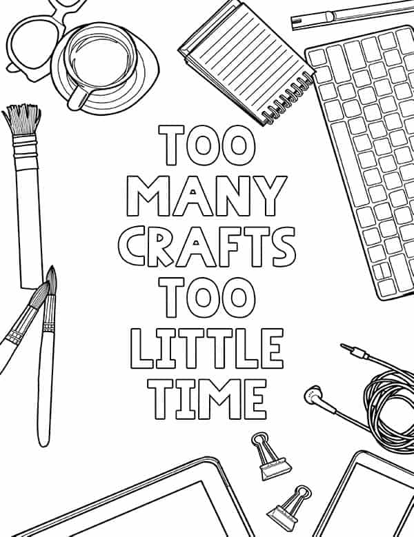 - Free Printable Fun Coloring Page - Crafty Quote - Lovely Planner