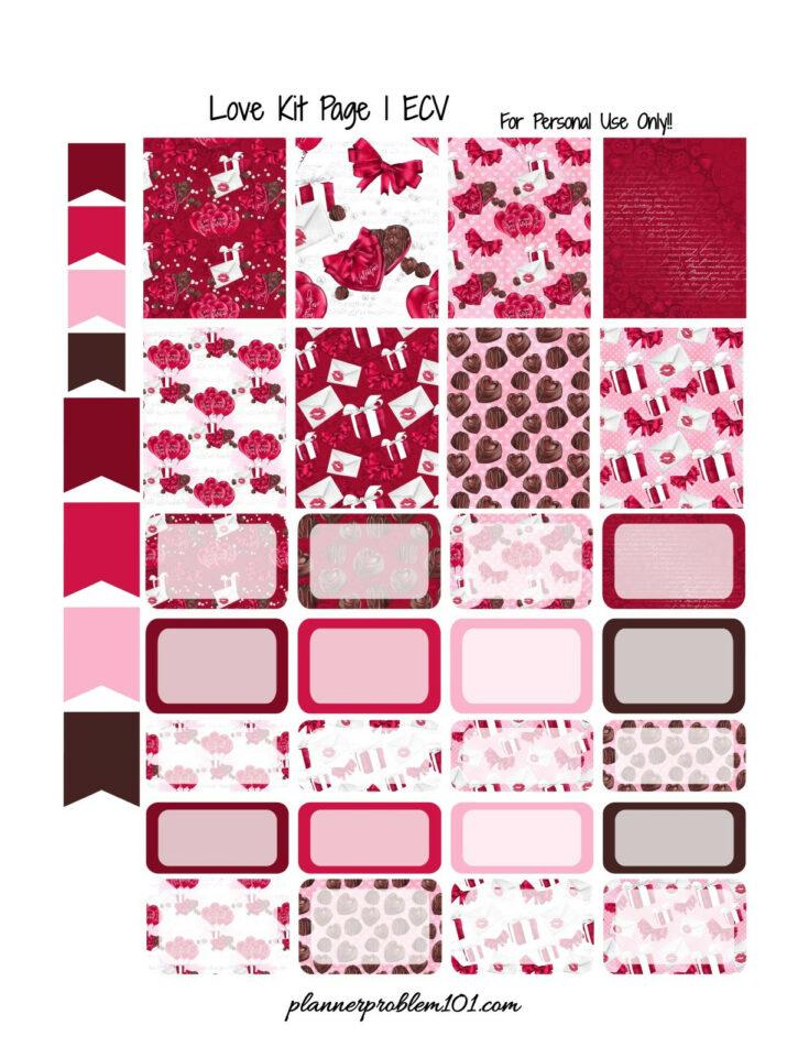 Love Kit - Free Printable PlannerStickers