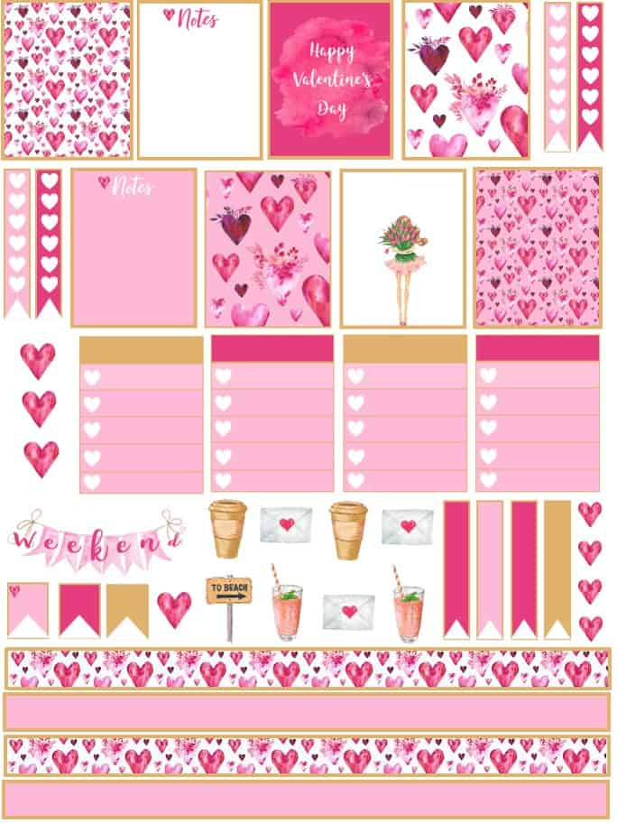 Free Watercolor Valentine's Day Planner Stickers