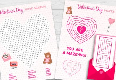 Free Printable Valentine's Day Activity Sheets: Word Search & Maze