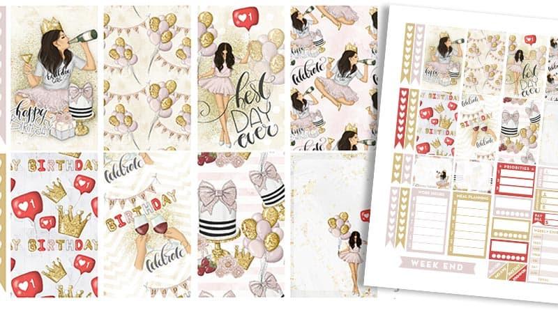 Free Printable Birthday Girl Planner Stickers - Weekly Kit