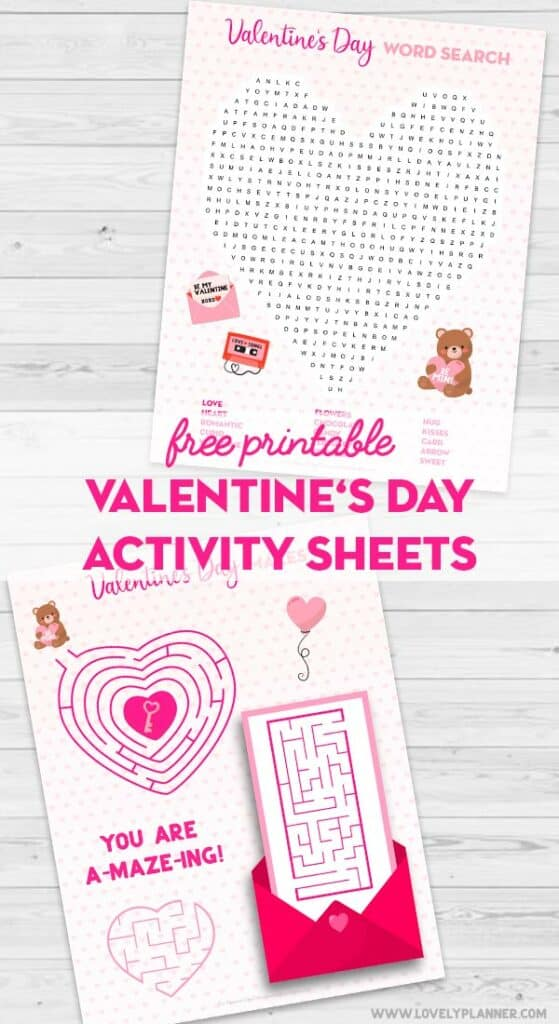free printable valentines day activity sheets