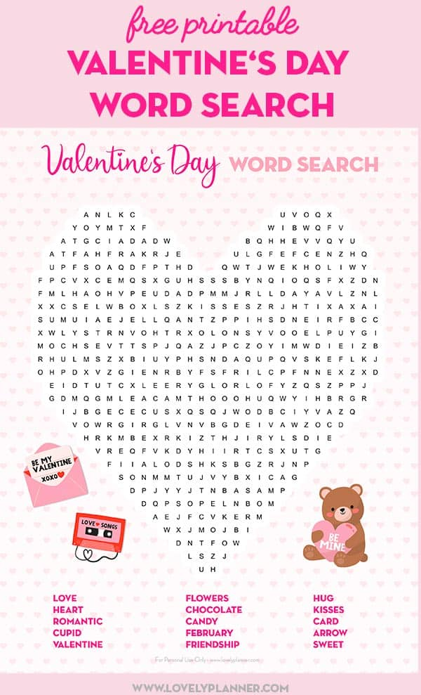 It is a picture of Ridiculous Valentine Word Searches Printable