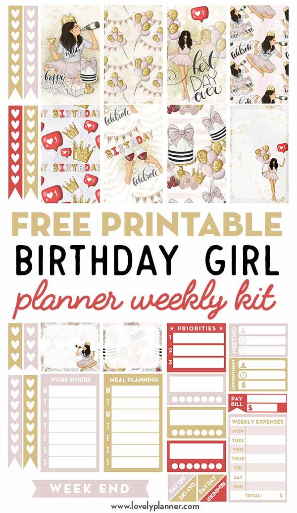 Free Printable Birthday Planner Stickers Weekly Kit