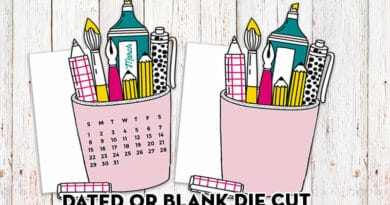 Free Printable Planner Die Cut Pen Holder