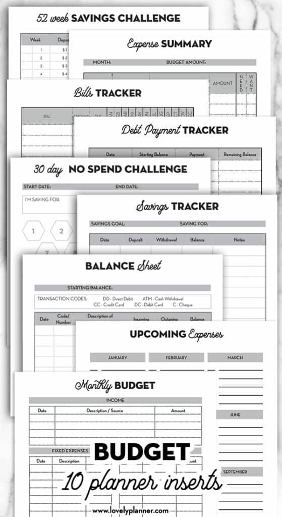Printable Budget Planner Inserts