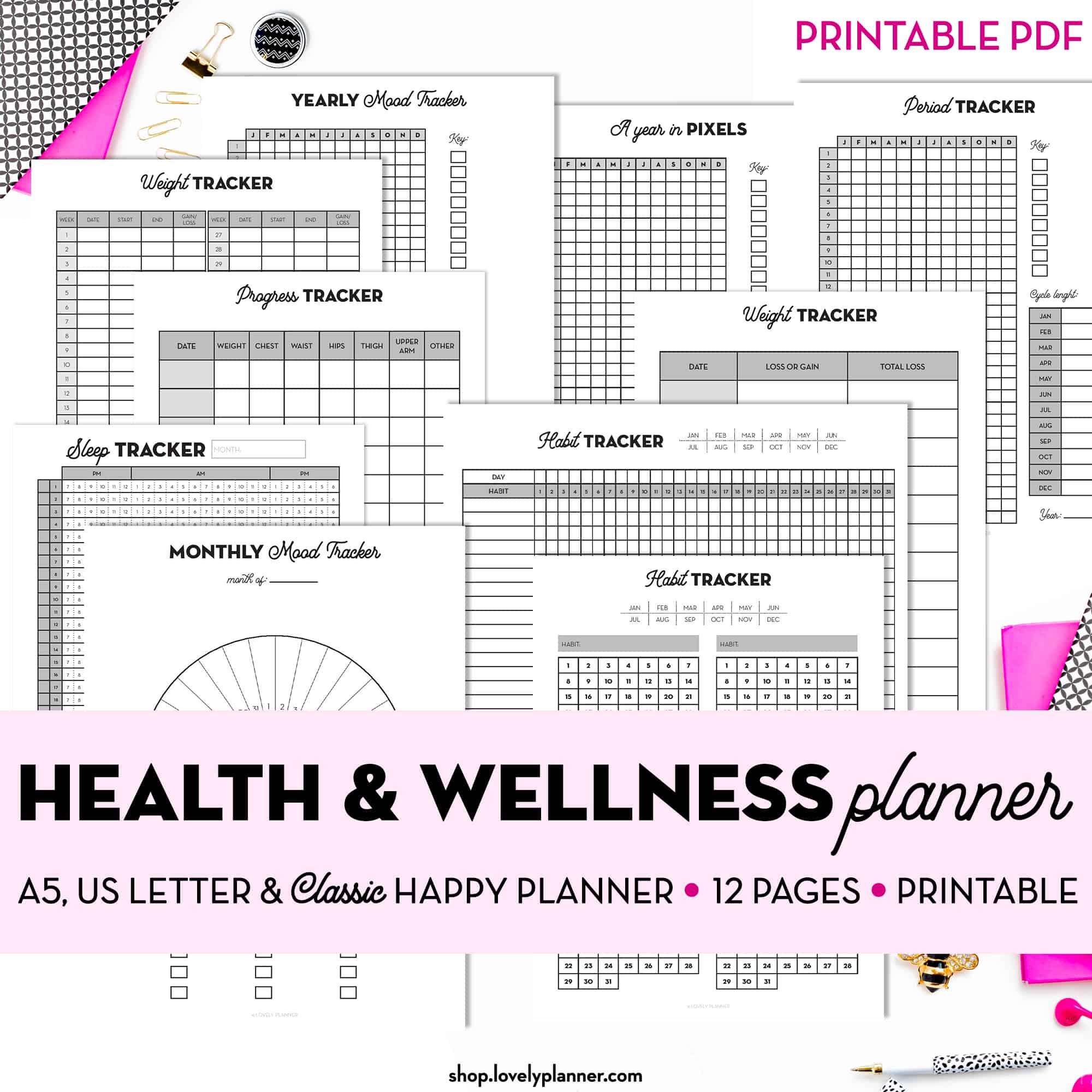 Health Wellness Printable Planner Inserts
