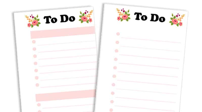 Free Printable Floral To Do List Planner Half Sheet