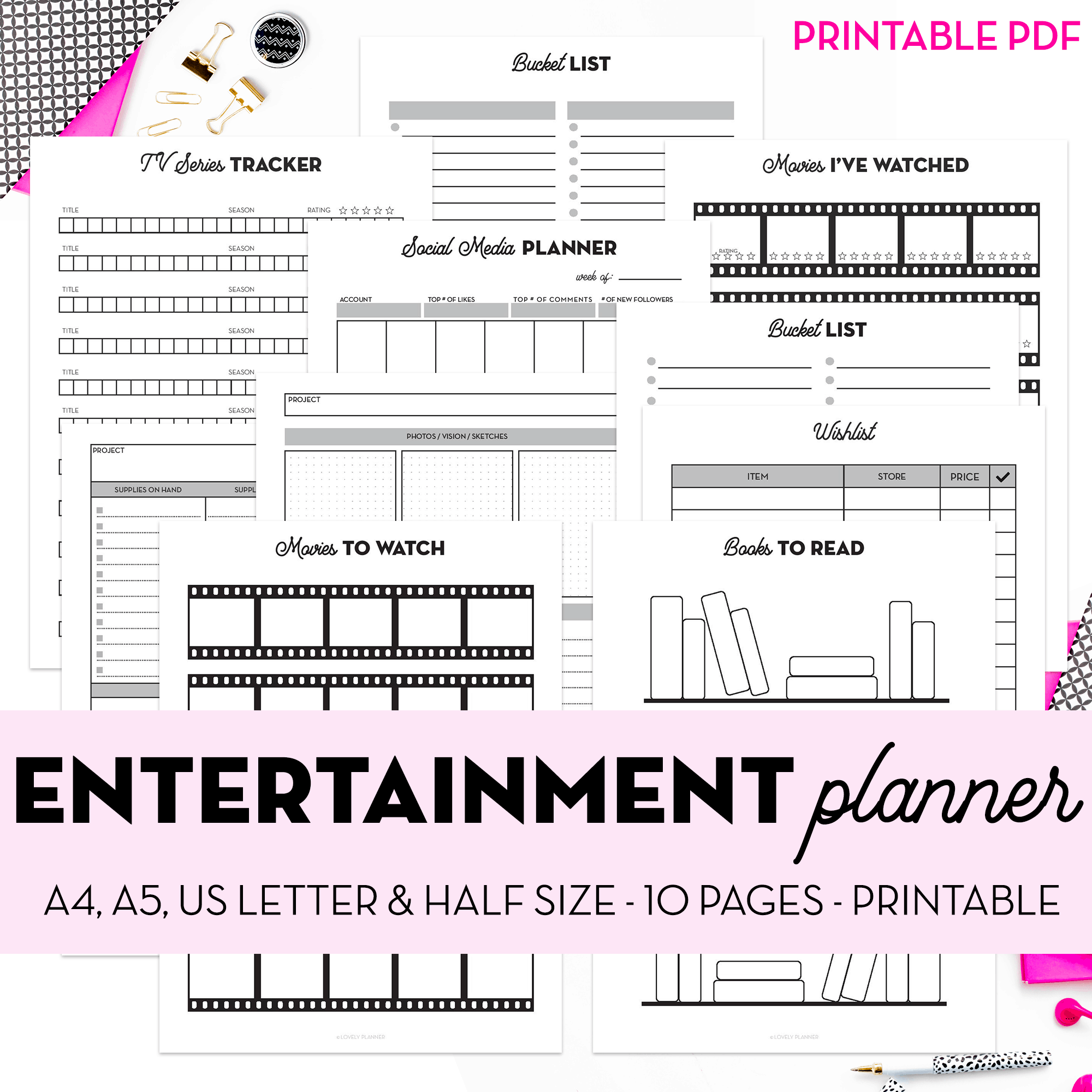 Entertainment Printable Planner