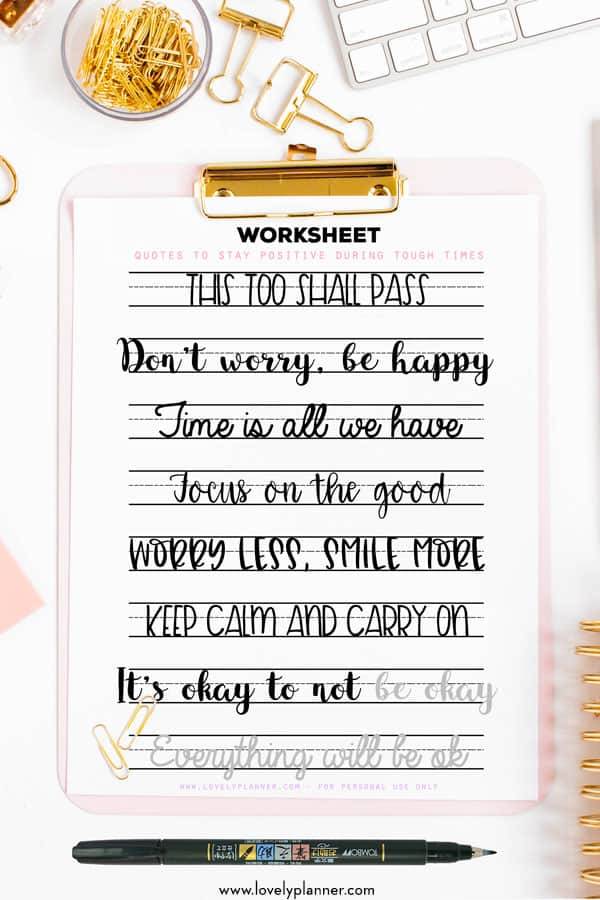 Free Printable Lettering Worksheets Motivational Quotes