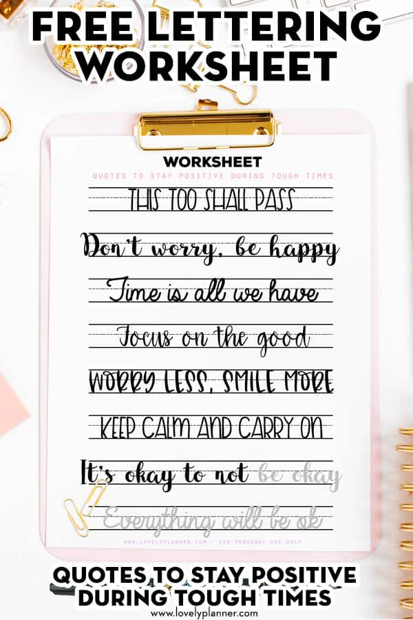 Free Printable Lettering Worksheets Motivational Quotes During Tough Times