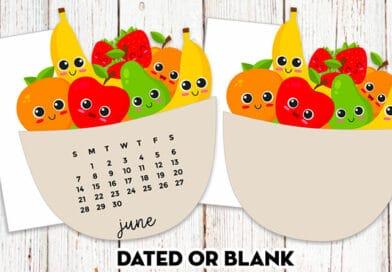 Free Printable Fruit Bowl Planner Die-Cut Calendar