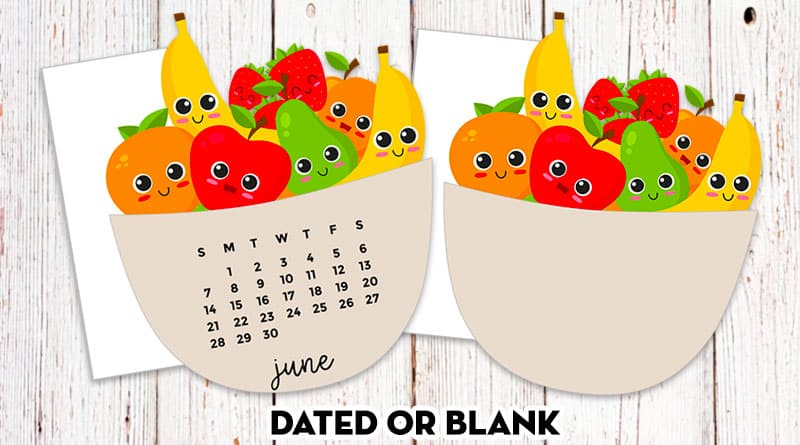 Free Printable Fruit Bowl Planner Die-Cut Calendar