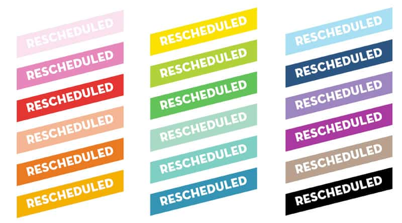 Rescheduled Printable Planner Stickers
