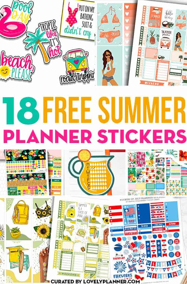 18 free printable summer planner stickers