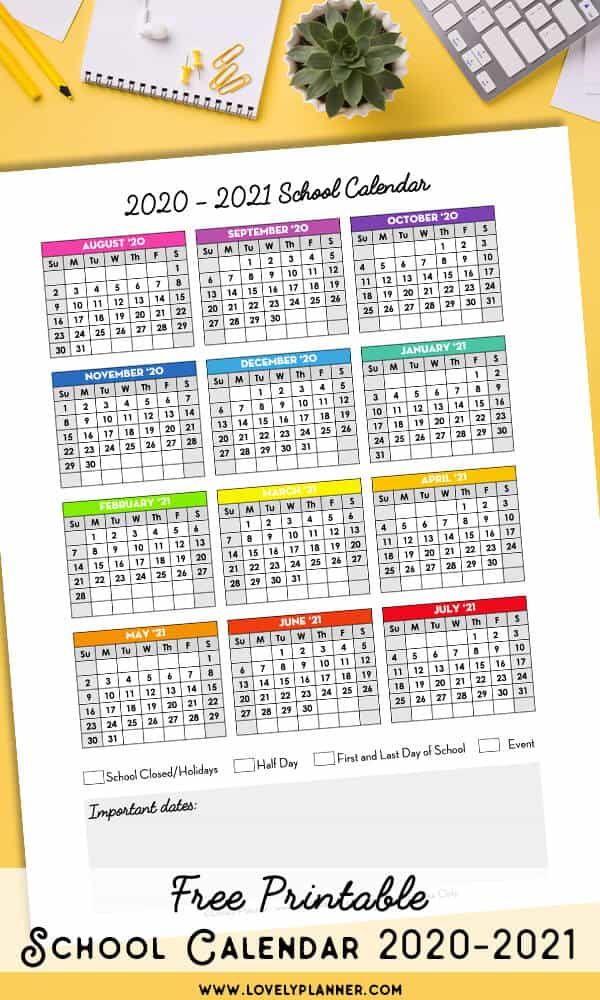 Free Printable 2020-2021 School Calendar - One Page ...