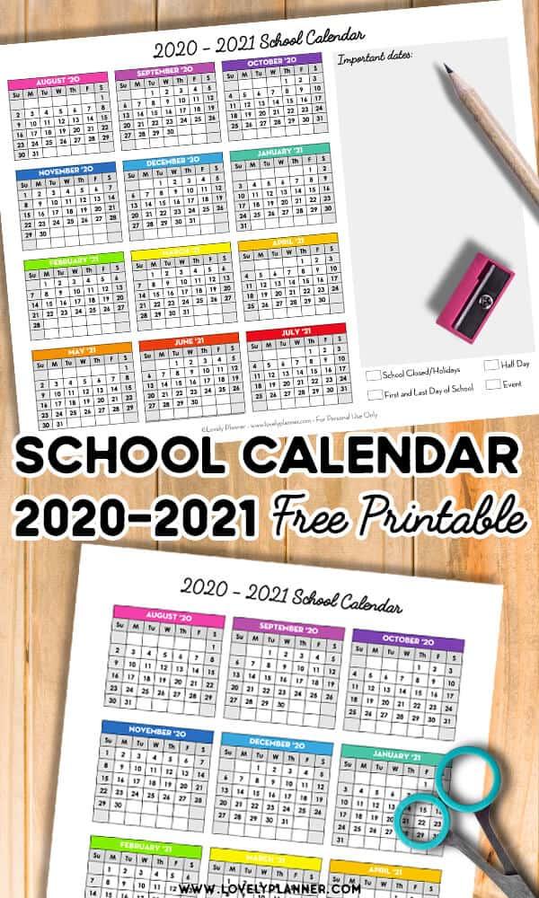 Free Printable School Calendar 2020-2021