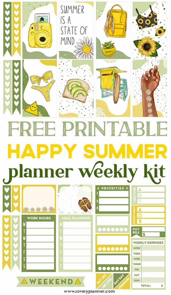 Happy Summer Printable Planner Stickers Weekly Kit