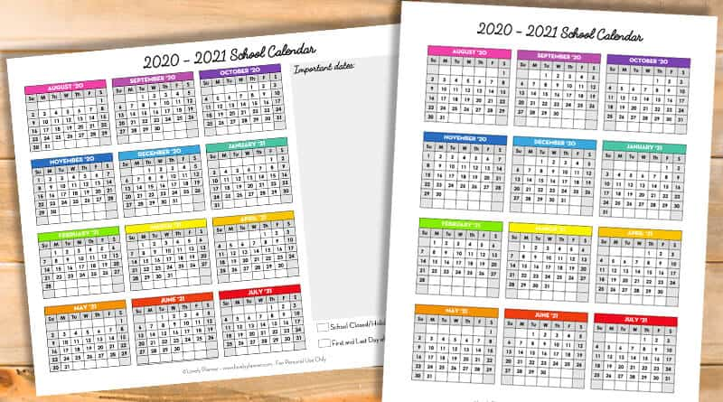 Yearly Calendar 2020 And 2021 Free Printable 2020 2021 School Calendar   One Page Academic