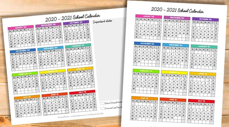 Free School Calendar 2020-2021 - Lovely Planner