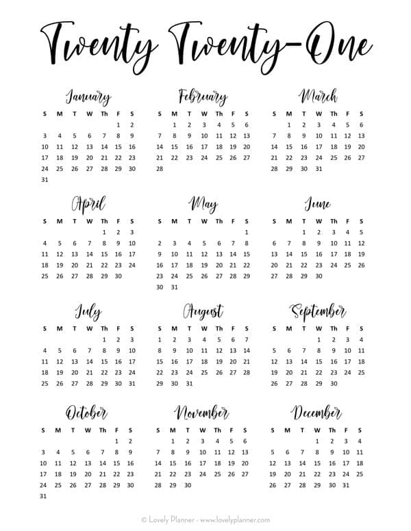 Cute 2021 Printable Blank Calendars : This cute free 2021 ...
