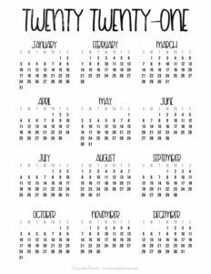 2021 Free Printable Calendar Template