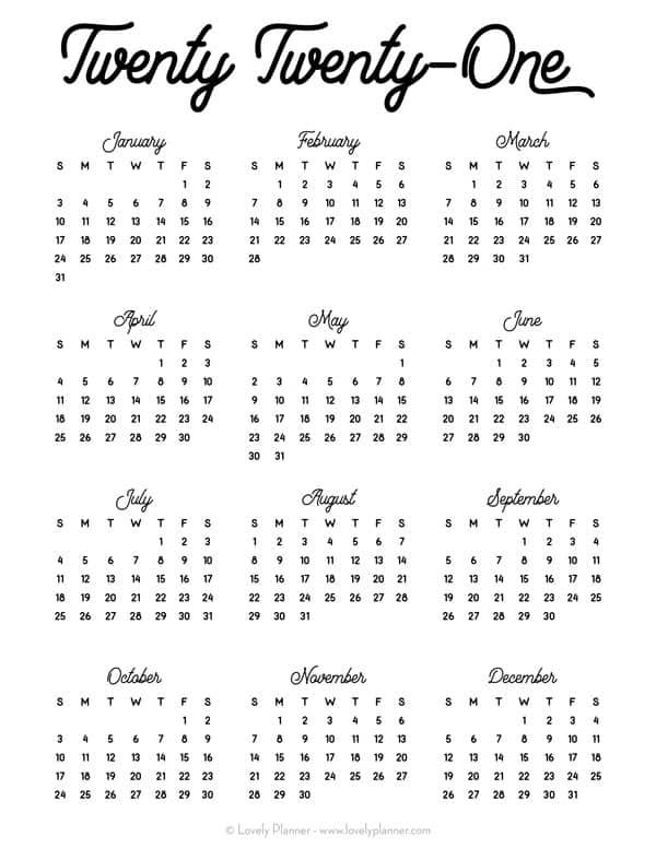 Calendar 2021 Free Printable