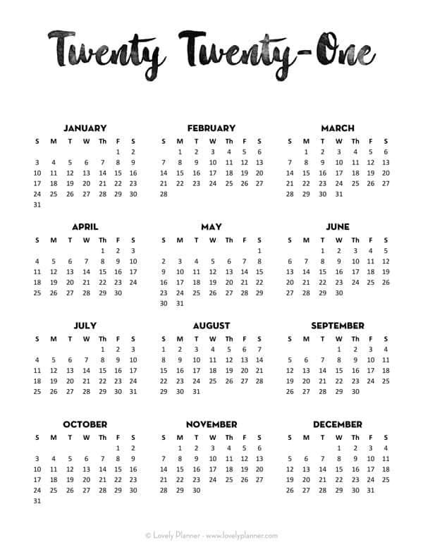 Free Printable Minimalist 2021 Calendar Templates
