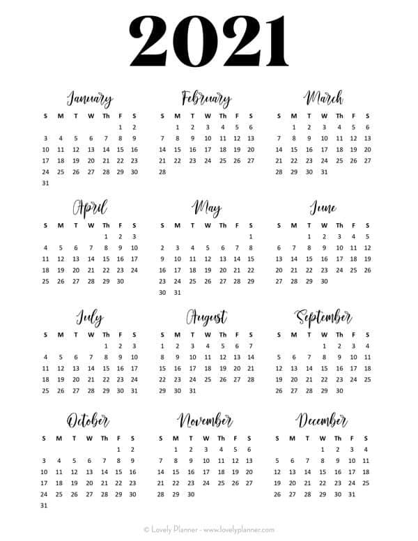 Free Printable 2021 Calendar One Page