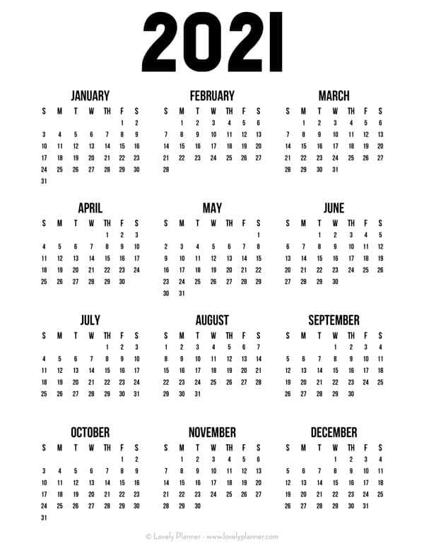 Free Printable 2021 One Page Calendar