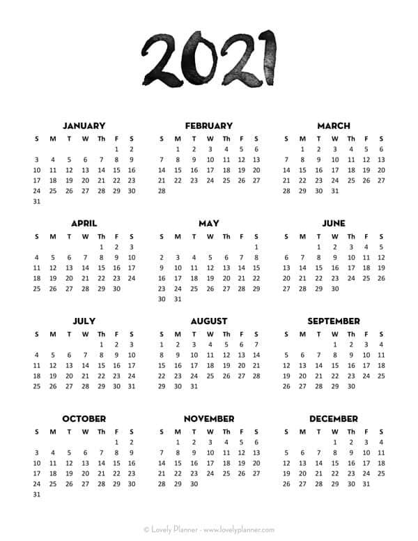 Printable 2021 One Page Calendar