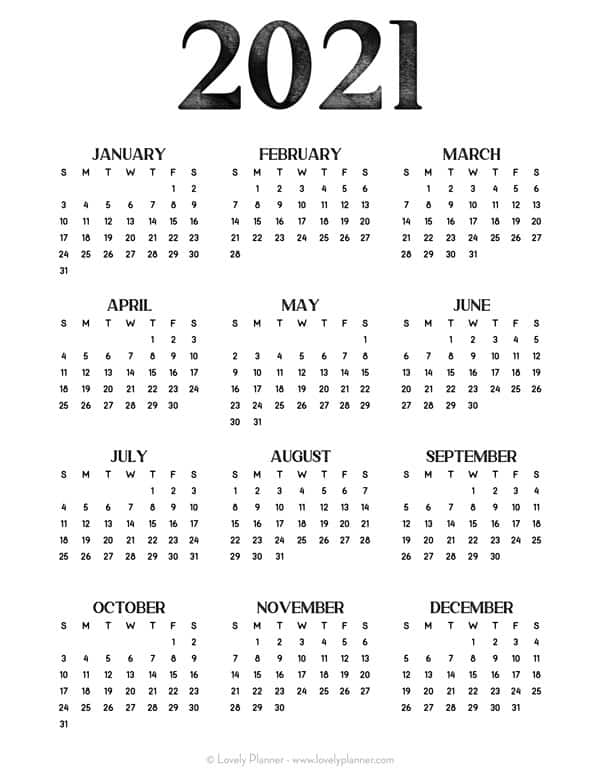 24 Pretty (& Free) Printable One Page Calendars for 2021 ...