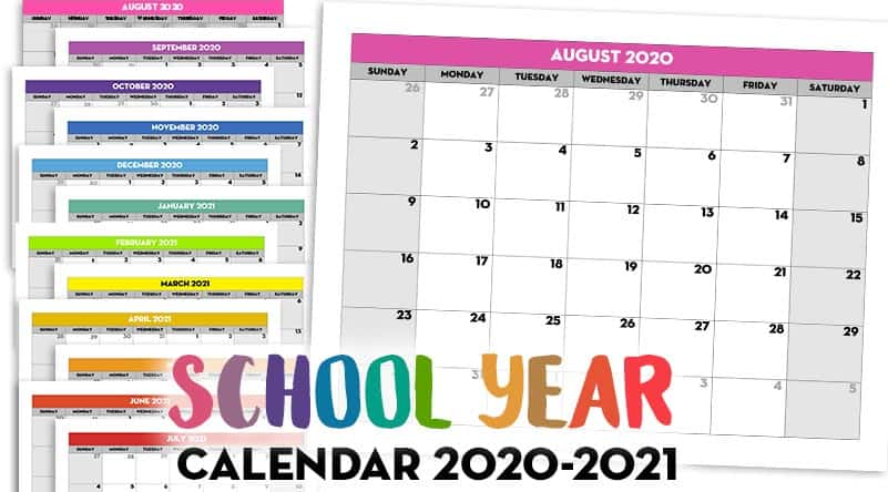 Free Printable 2020-21 Monthly School Calendar Template