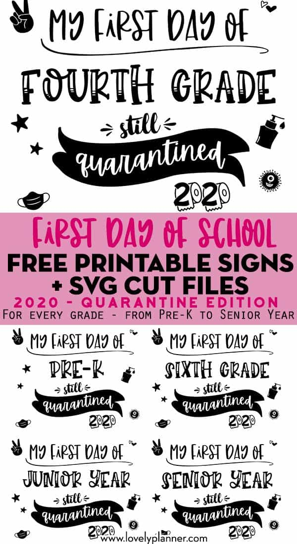 free printable first day of school signs 2020 - quarantine