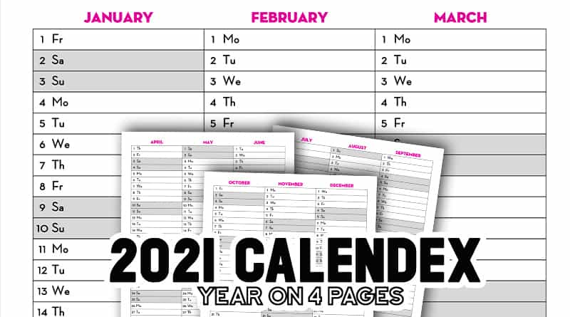Free Printable 2021 Calendex Calendar Bullet Journal 2021 Quarterly Calendar