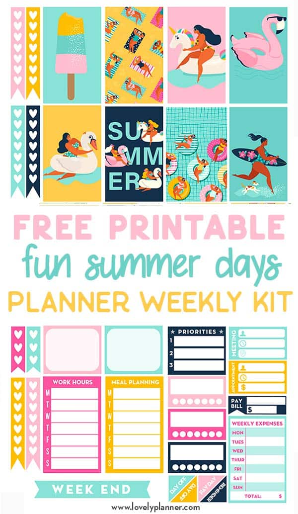 Free Printable Summer Planner Stickers Weekly Kit