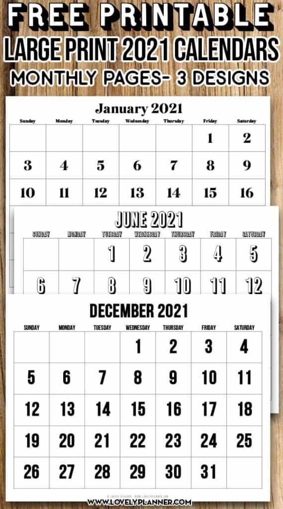 Free Printable Large Print Calendar 2021 - Lovely Planner