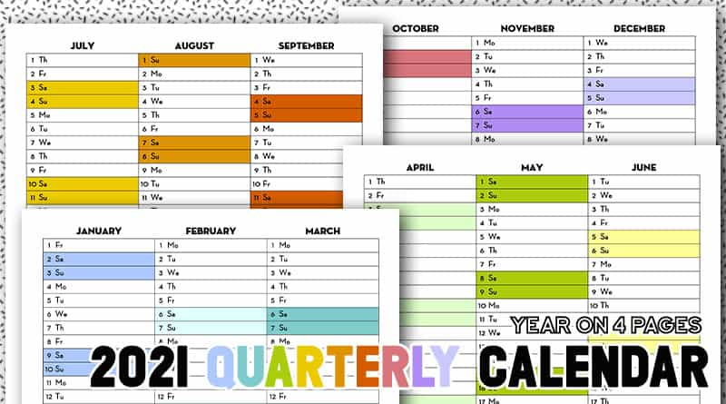 Free Printable 2021 Quarterly Calendar   Rainbow Calendex   Lovely