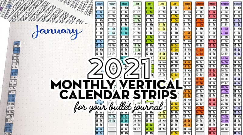 Free Printable 2021 vertical date strips bullet journal