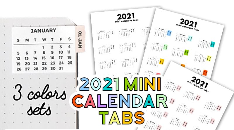 Free Printable Mini Calendar Tabs Stickers for Bullet Journal