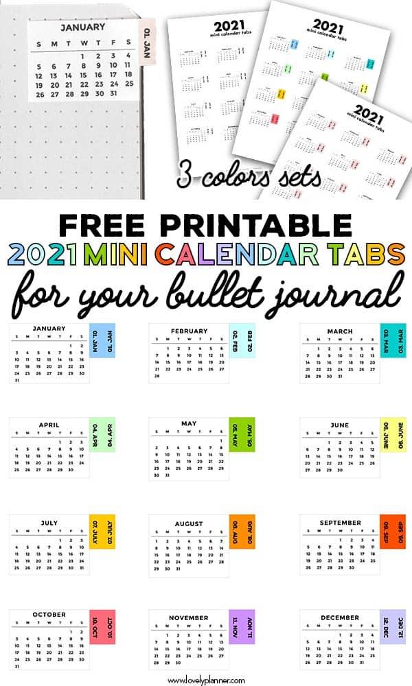 Free Printable Mini Calendar Tabs for Bullet Journal