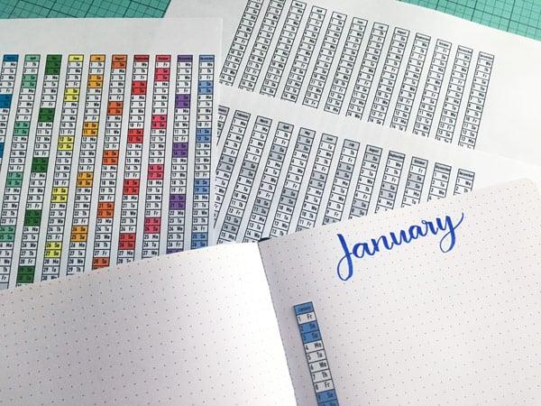 Free Printable 2021 vertical bullet journal date strips