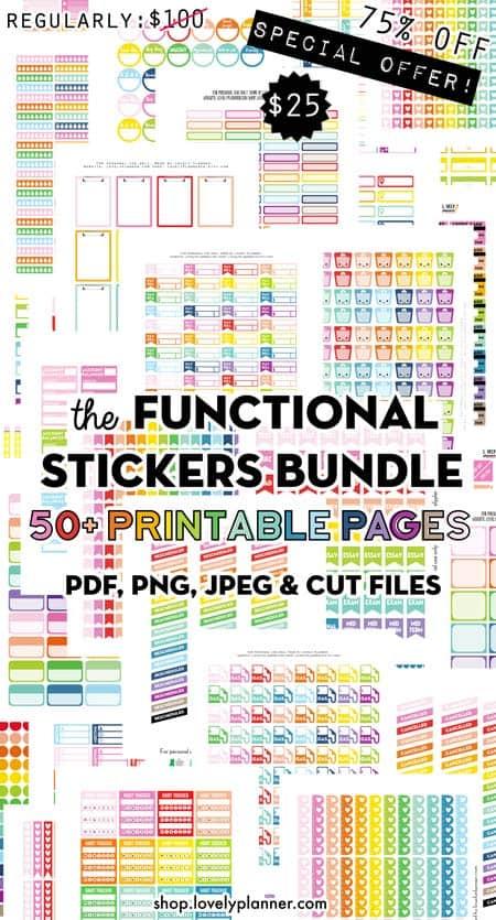 Bundle Functional Planner Stickers Printable