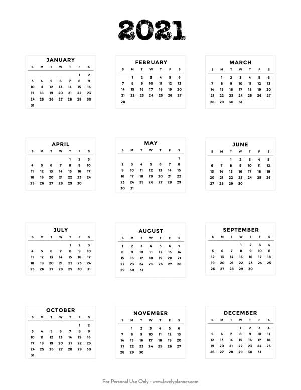 Free Printable 2021 Bullet Journal Mini Calendars   Lovely Planner