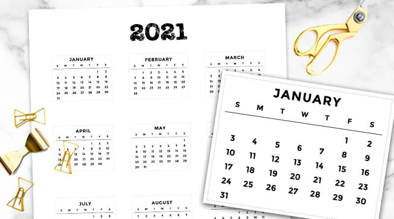 Calendrier Bullet Journal 2021 Free Printable 2021 Bullet Journal Mini Calendars   Lovely Planner